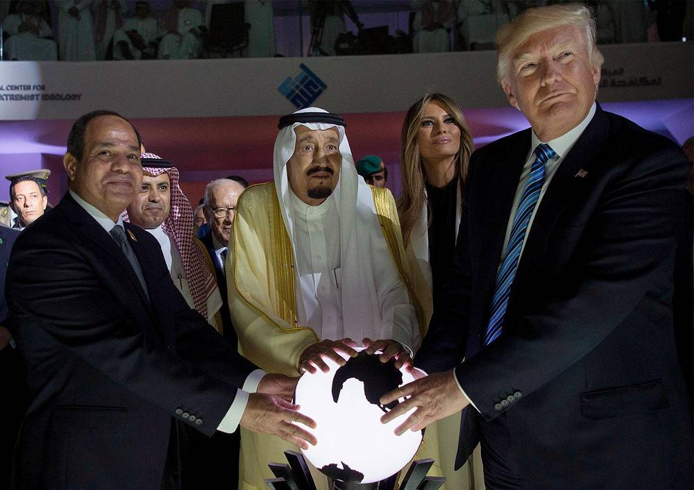 US President Donald J. Trump, US First Lady Melania Trump, King Salman bin Abdulaziz al-Saud of Saudi Arabia and Egyptian President Abdel Fattah al-Sisi opening the World Center for Countering Extremist Thought in Riyadh, Saudi Arabia