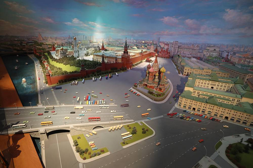 """Small-scale model called """"Moscow – Capital of the USSR""""  showing the historical centre of Moscow and the city's surroundings"""