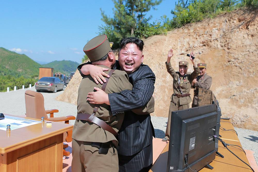 North Korean leader Kim Jong-In seen after the launch of the Hwasong-14 intercontinental ballistic missile