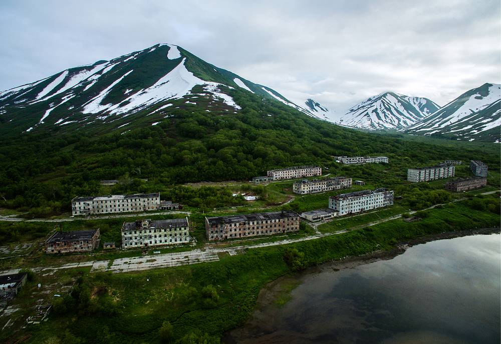 A view of an abandoned garrison settlement in the Bechevinskaya Bay, Kamchatka