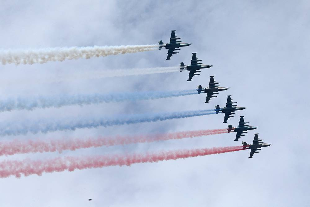 Su-25 attack aircraft seen during the Russian Navy Day parade in Saint Petersburg