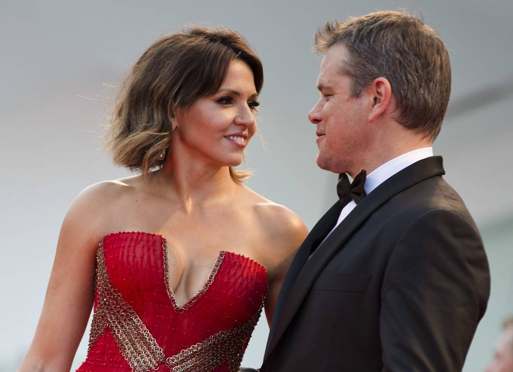 "Actor Matt Damon and his wife Luciana Barroso at the premiere of the film ""Downsizing"" which opened the 74th edition of the Venice Film Festival"