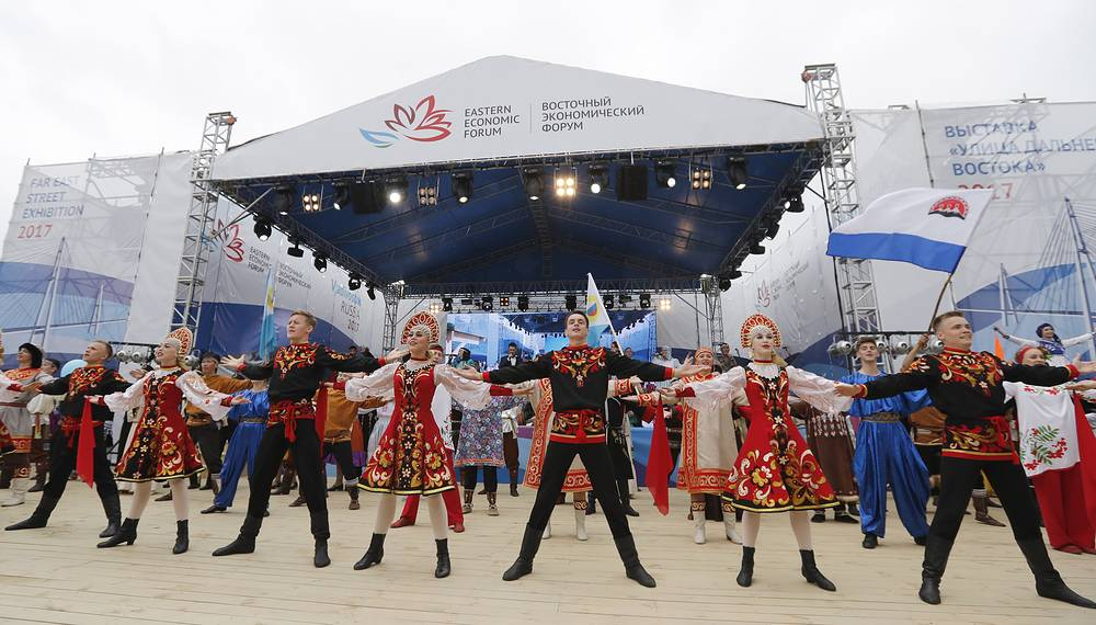 "The opening of an exhibition called ""Far East Street"", part of the 2017 Eastern Economic Forum (EEF) on Russky Island"