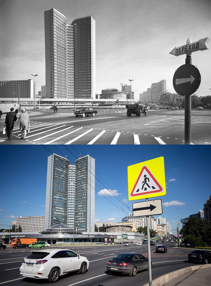 A view of the SEV Building on Kalinin Avenue in 1968 and  the offices of the Moscow Government in Novy Arbat Street, 2017