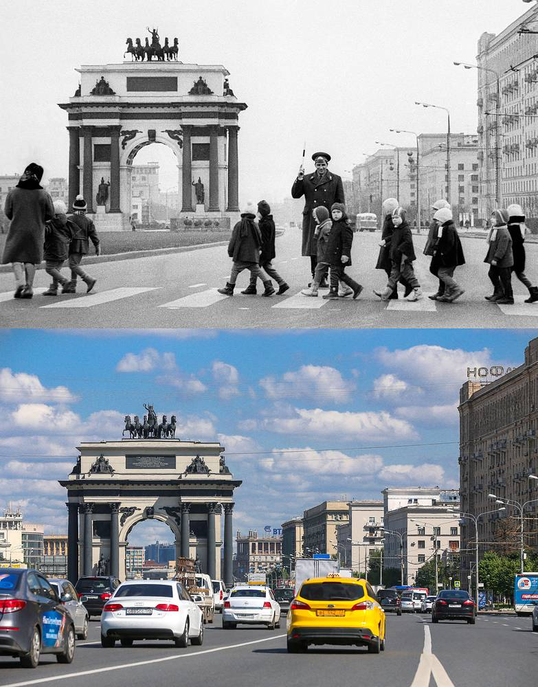 Above: A police officer helps kids to cross Kutuzovsky Avenue in 1968