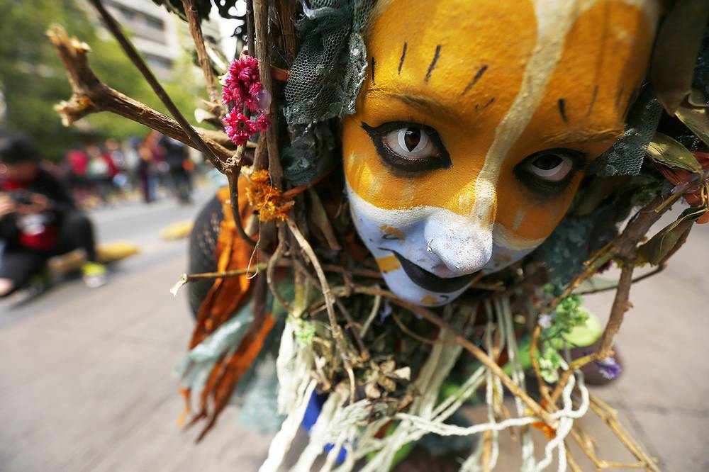A woman takes part in a march supporting the Mapuche indigenous people in Santiago, Chile, October 9