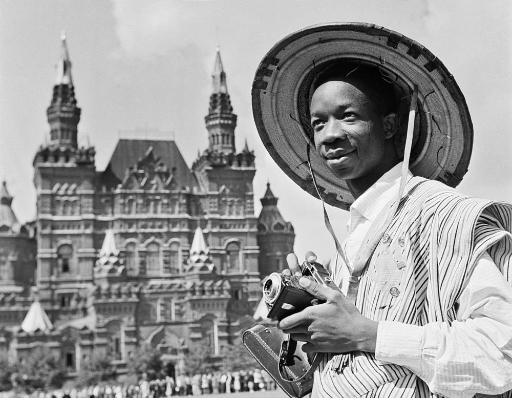 A carnival participant from Africa at the Red Square, 1957