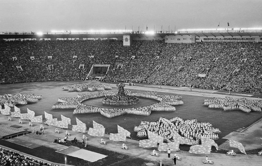 """The 6th World Festival of Youth and Students in 1957 was the largest-ever, with 34,000 young men and women from 100 countries taking part. Photo: Students form the word """"Peace"""""""