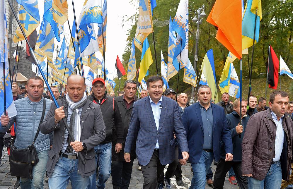 Mikheil Saakashvili, former governor of the Odessa Region, leader of the New Forces Movement, attends a rally organized by his supporters outside the Ukrainian Parliament
