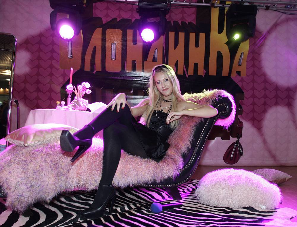 Ksenia Sobchak at the Russian premiere comedy Pledge This! starring Paris Hilton, 2007. Her voice was dubbed over Paris Hilton's in the comedy released in Russia under the title 'Blonde in Chocolate'