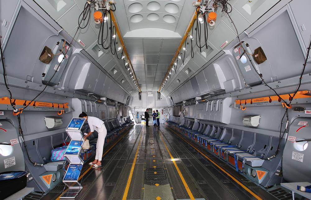 Inside an Antonov An-70 transport aircraft