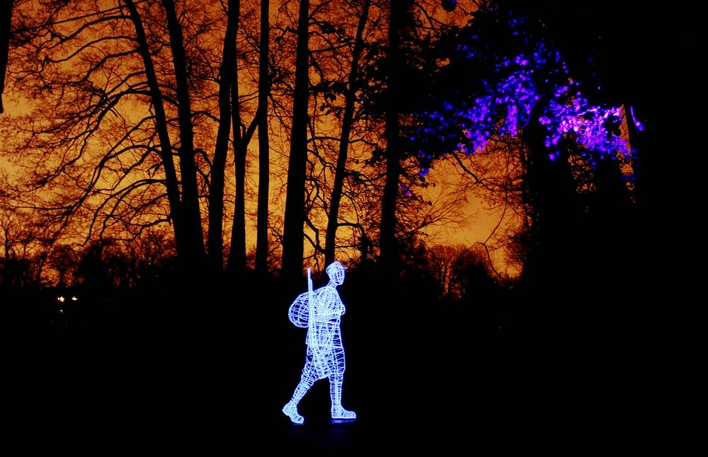 A light installation titled 'Arrivals. They were here' by Finnish artist Alexander Reichstein at the Light Festival Staro Riga, in Riga, Latvia, November 19