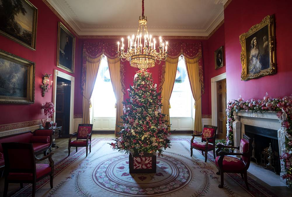 The Red Room during a press preview of the 2017 holiday decor at the White House in Washington, USA