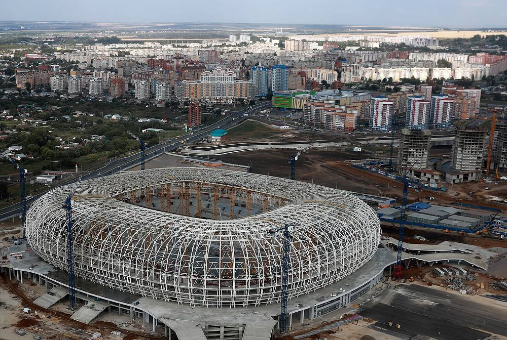 An aerial view of the construction site of Mordovia Arena Stadium in Saransk