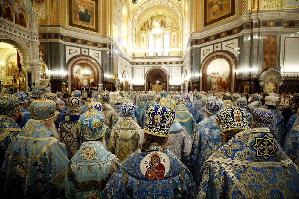 The leaders of the Orthodox Churches and archpriests of the Russian Orthodox Church attend a liturgy at the Cathedral of Christ the Saviour, Moscow, Russia, December 4. The liturgy celebrated the 100th anniversary of the enthronement of Saint Patriarch Tikhon of Moscow