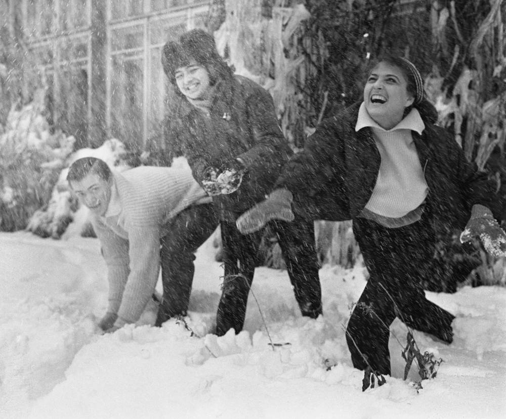 Moscow students playing snowballs, 1965