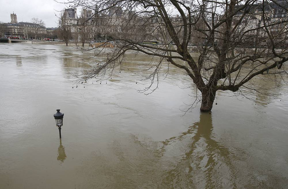 The banks of river Seine flooded in Paris, France, January 29