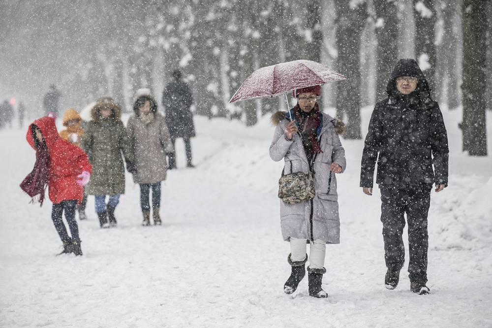 People walk under a snowfall on Moscow's Sparrow Hills.