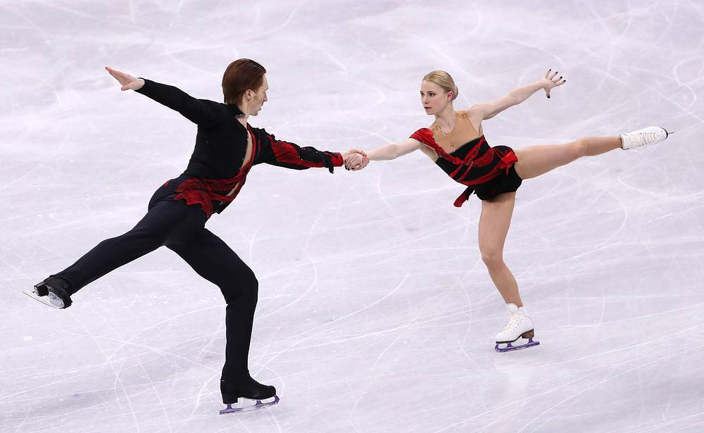 Olympic Athletes from Russia Yevgenia Tarasova and Vladimir Morozov. The Russian couple began skating together in 2012