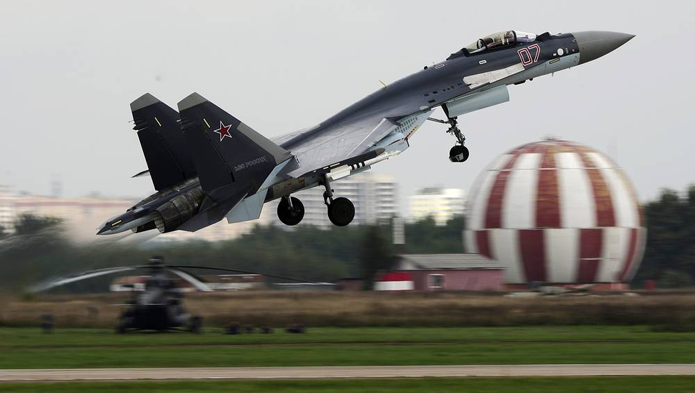 Su-35 can develop a speed of up to 2,500 kilometers per hour and has a flying range of 3,400 kilometers and a combat radius close to 1,600 kilometers