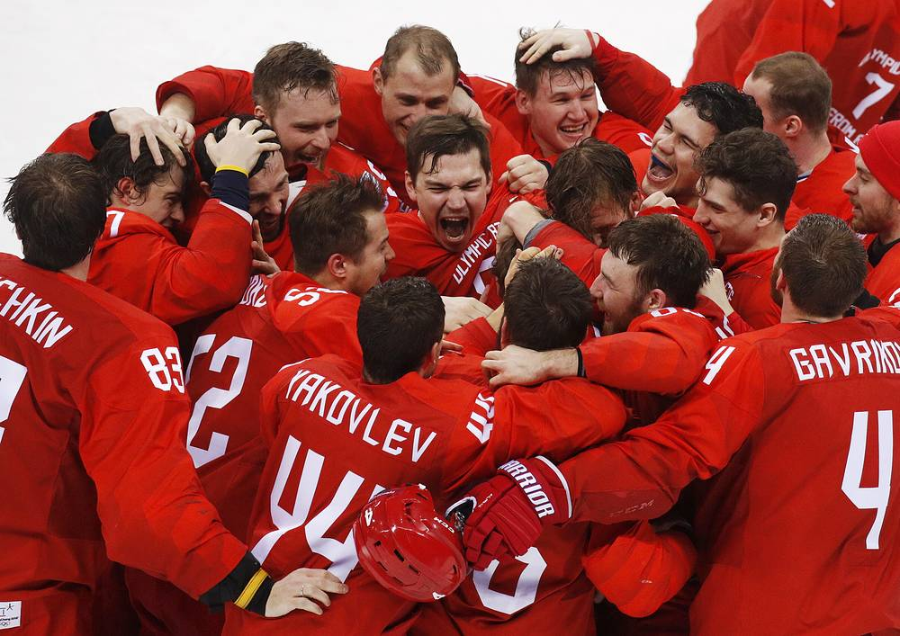 Ice hockey team from Russia celebrate after winning the men's gold medal hockey game against Germany, 4-3, in overtime at the 2018 Winter Olympics