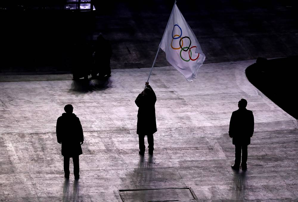 The Olympic Flag Handover Ceremony during the Closing Ceremony of the PyeongChang 2018 Olympic Games