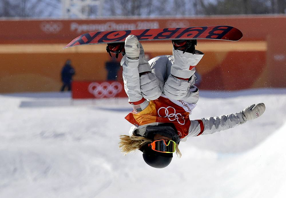 Chloe Kim, of the United States, jumps during the women's halfpipe finals at Phoenix Snow Park at the 2018 Winter Olympics in Pyeongchang, South Korea, Tuesday, Feb. 13, 2018.
