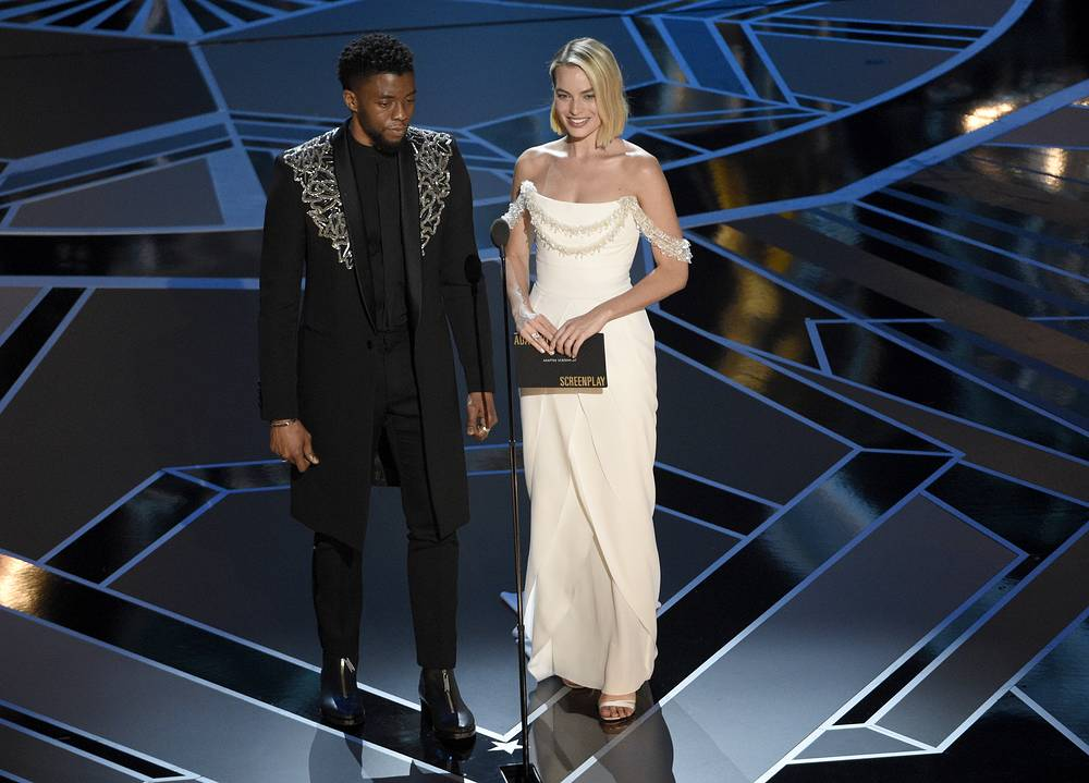 Chadwick Boseman and Margot Robbie present the award for best adapted screenplay