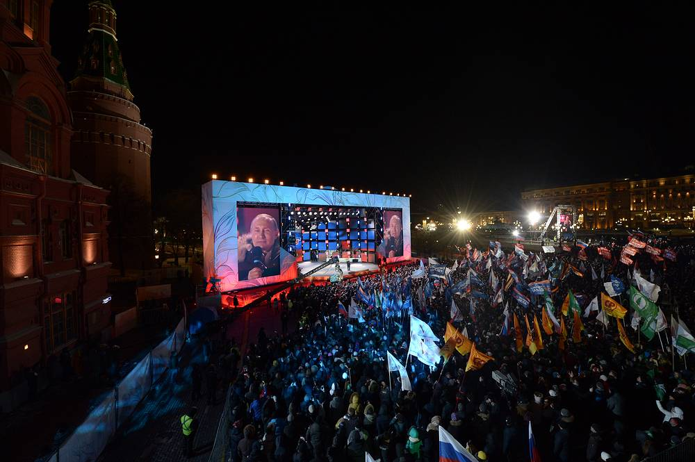 "Russian President Vladimir Putin talks to the crowd during a concert rally dubbed ""Russia. Sevastopol. Crimea"", marking the 4th anniversary of Crimea's reunification with Russia in Manege Square, Moscow, Russia, March 18"