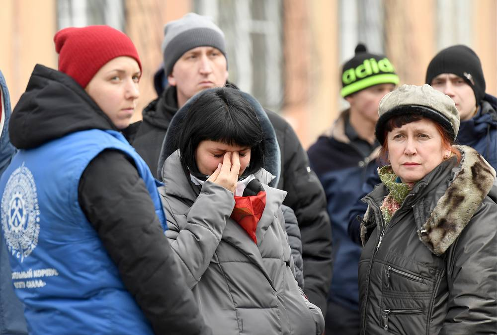People outside the shopping centre in Kemerovo
