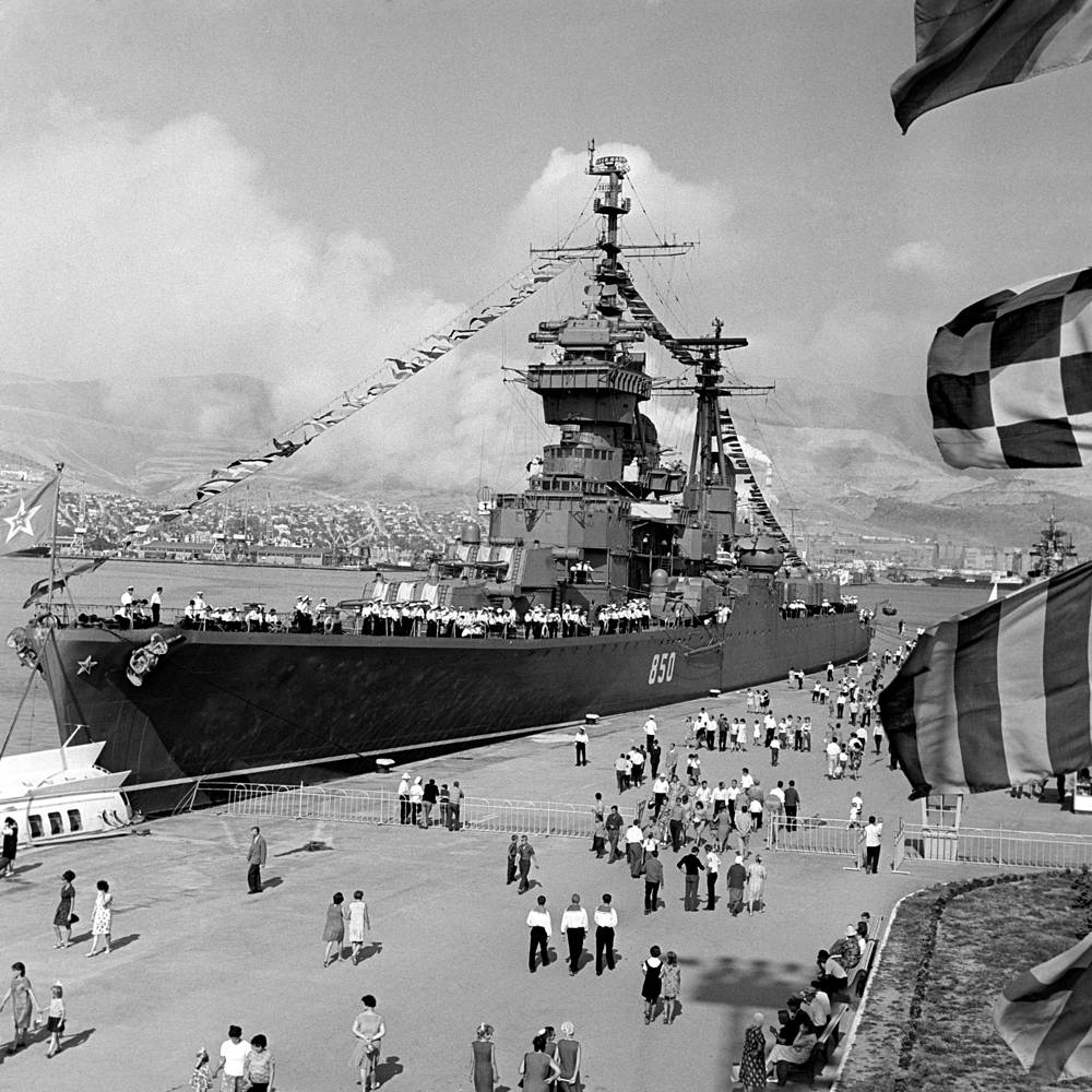 Soviet Black Sea Fleet warships arrive to celebrate the 25th anniversary of the liberation of the city by Soviet troops in World War II, 1968