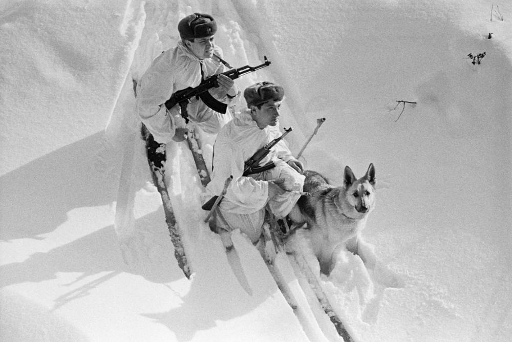 A group of border guards with a dog patrol the state border of the USSR, 1968