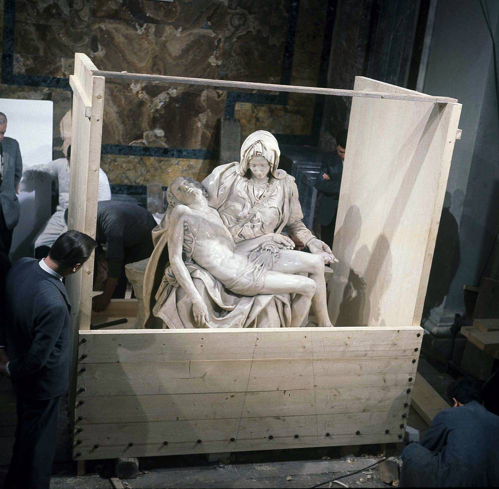 """On May 21, 1972, a mentally disturbed man took a hammer to Michelangelo's """"Pieta"""" statue, the classical Renaissance sculpture. With fifteen blows a vandal removed Mary's arm at the elbow, knocked off a chunk of her nose, and chipped one of her eyelids. The work was restored and returned to its place in St. Peter's and is now protected by a bulletproof acrylic glass panel"""