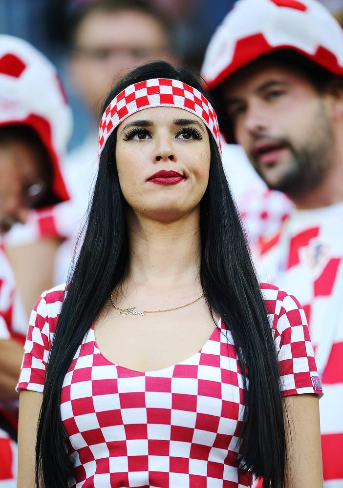 Football fan supporting Croatia during a 2018 FIFA World Cup First Stage Group D football match between Croatia and Nigeria at Kaliningrad Stadium