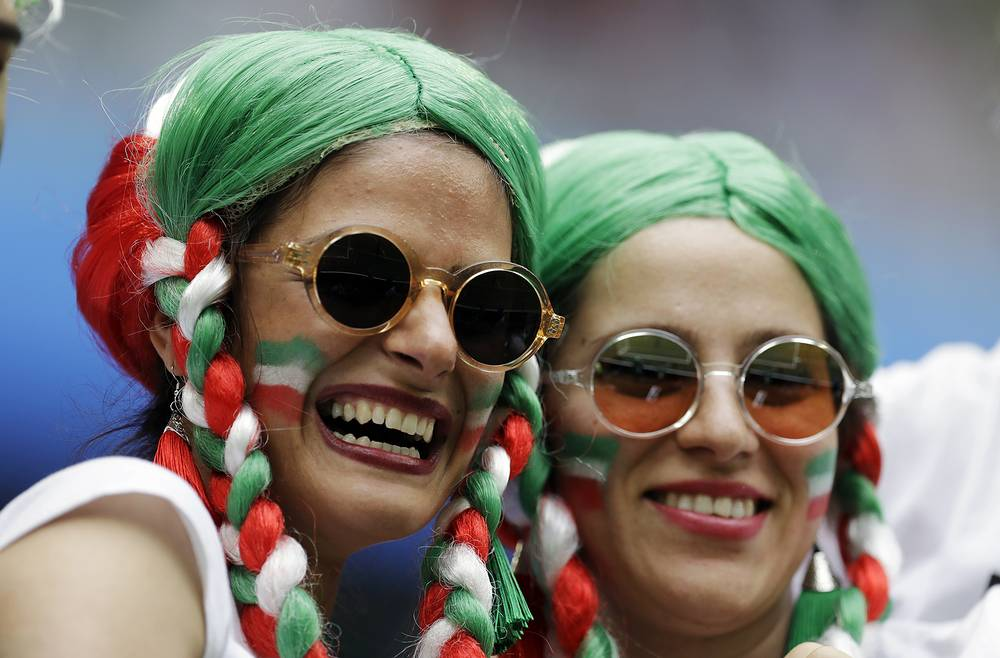 Fans for Iran seen before the start of the group B match between Morocco and Iran in St. Petersburg