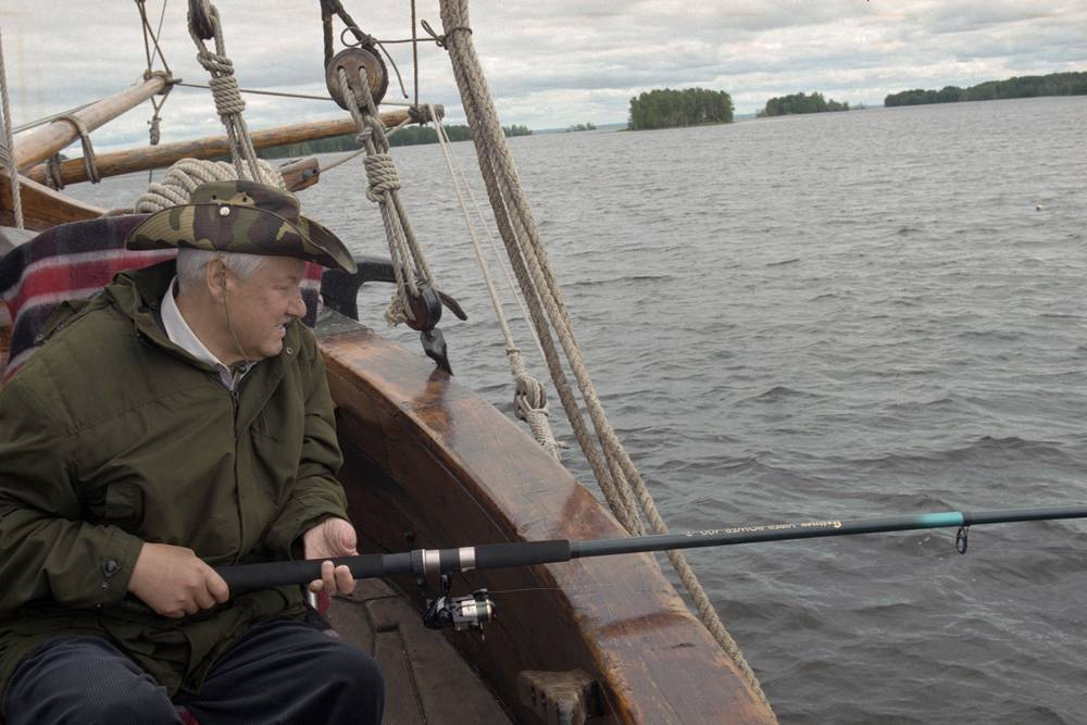 Former Russian president Boris Yeltsin spending his holiday in Russia's picturesque northwestern republic of Karelia, 1997