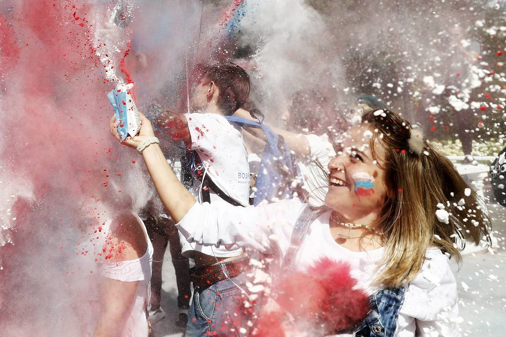 A girl seen during celebrations marking Day of the Russian National Flag, Moscow, August 22