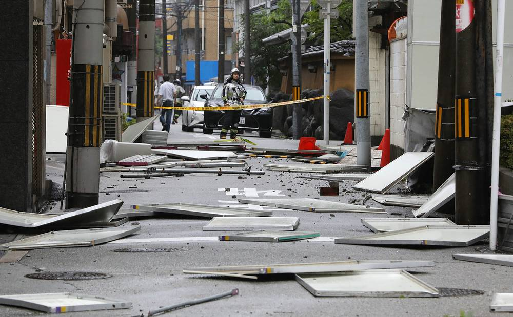 According to media reports, people were hit by flying objects or buried under collapsed buildings