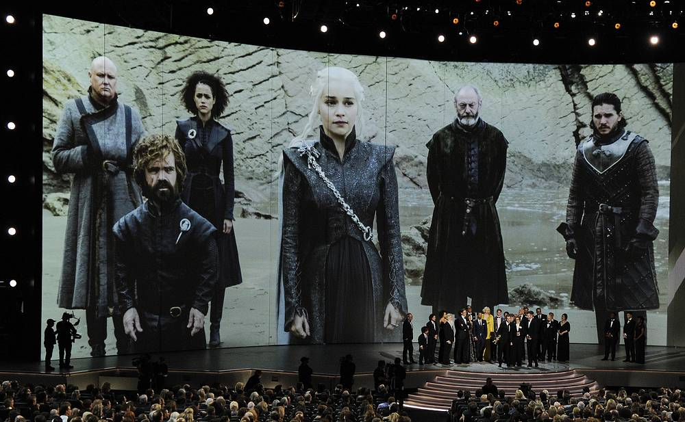 """Game of Thrones"" cast and crew members accepting the Emmy Award for Best Drama onstage at the 70th Primetime Emmy Awards at the Microsoft Theatre in Los Angeles"