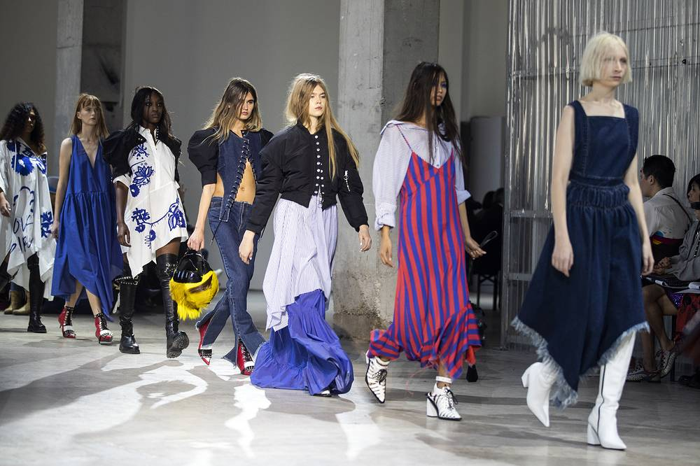 Models present creations by Portuguese designers Marta Marques and Paulo Almeida