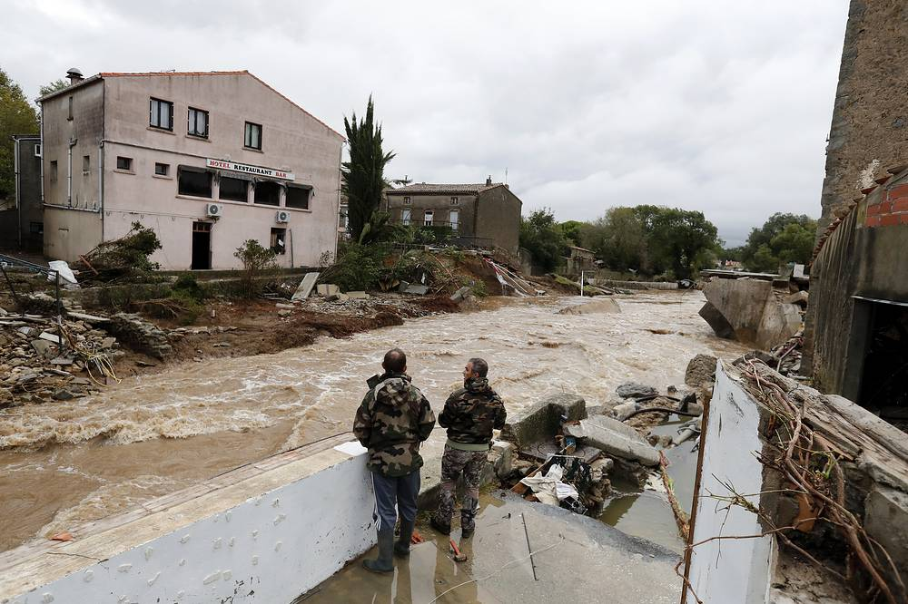 Houses damaged due to heavy rain falls and violent storm in Villegailhenc, France