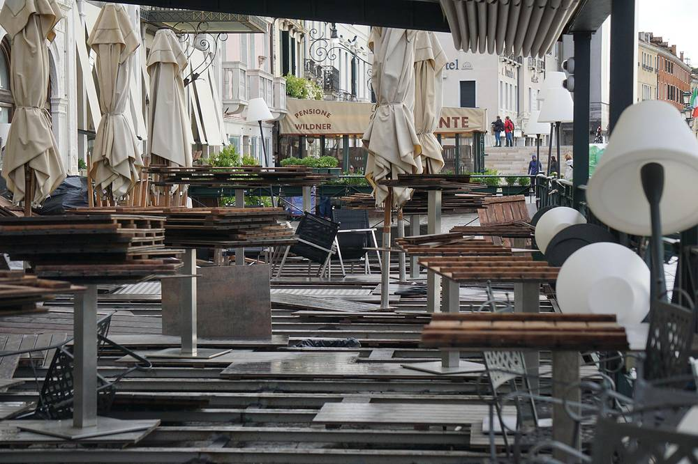 The terrace bar of the prestigious London hotel destroyed by the storm along the San Marco pier in Venice