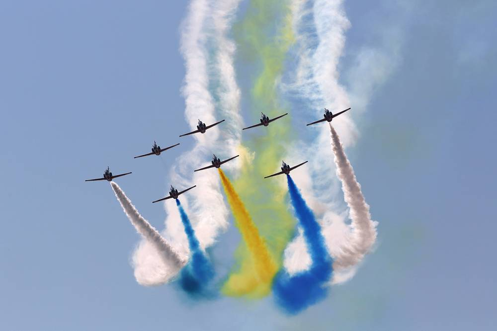 "China's K-8 aircraft from the Aerobatic Team ""Hongying"", meaning Red Eagle, of Chinese People's Liberation Army Air Force"