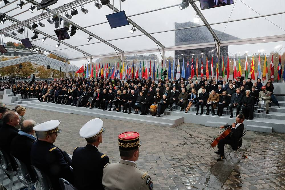 A ceremony to celebrate the 100th anniversary of the World War I Armistice
