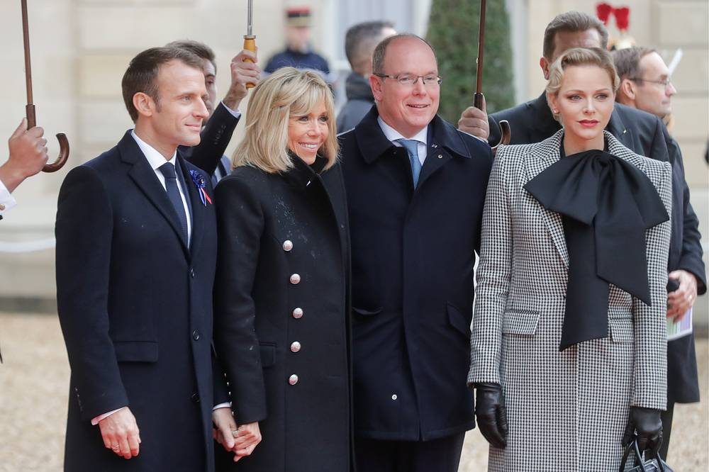 France's President Emmanuel Macron and his wife Brigitte, Prince Albert II of Monaco and his wife Princess Charlene of Monaco