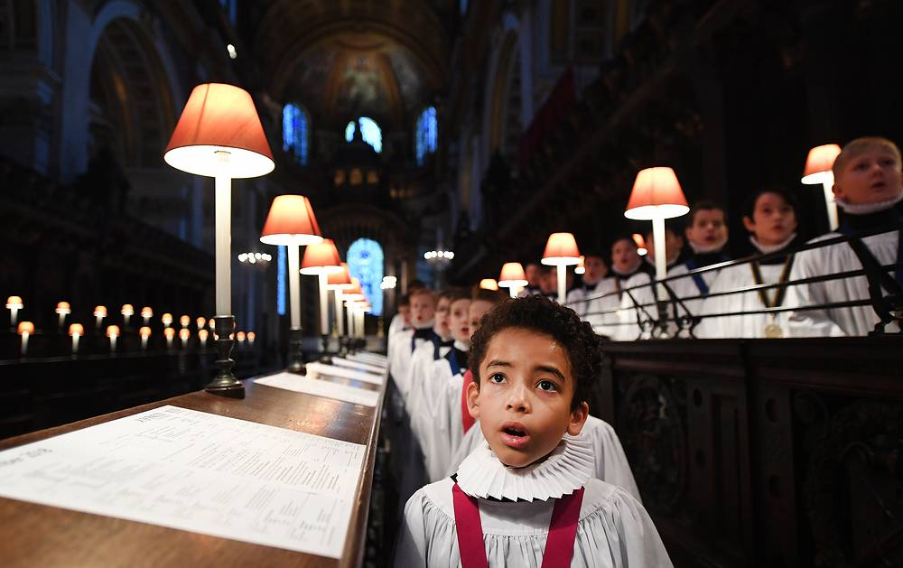 St Paul's Cathedral choristers rehearse at St Paul's Cathedral in London, December 19