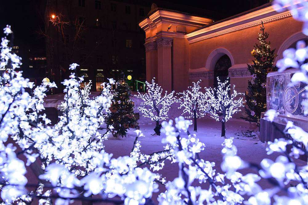 LED lit artificial trees in Novosibirsk
