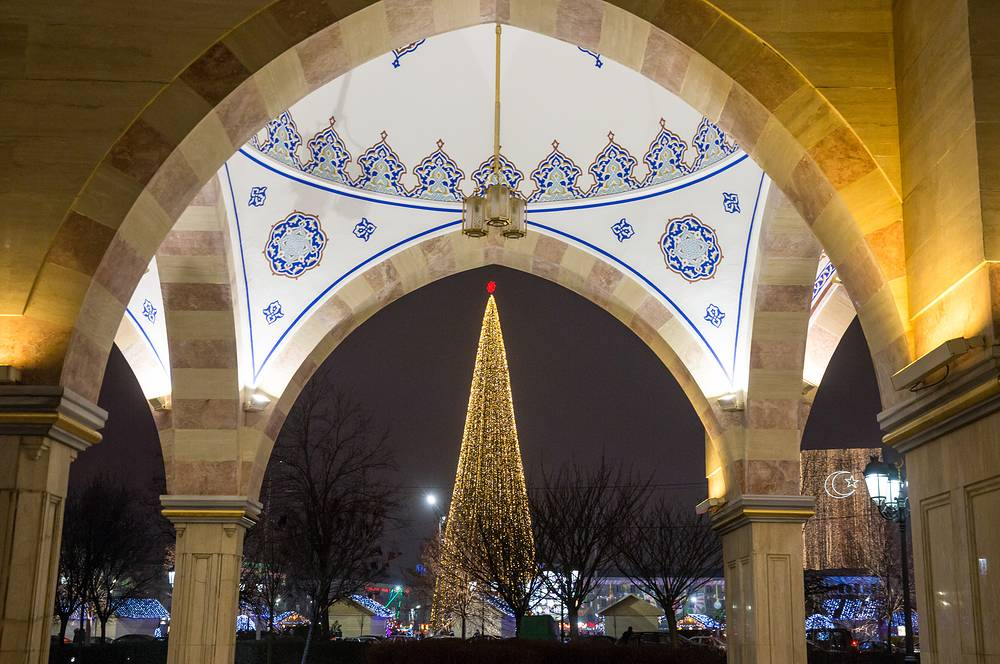 A view of the main New Year tree in the city of Grozny