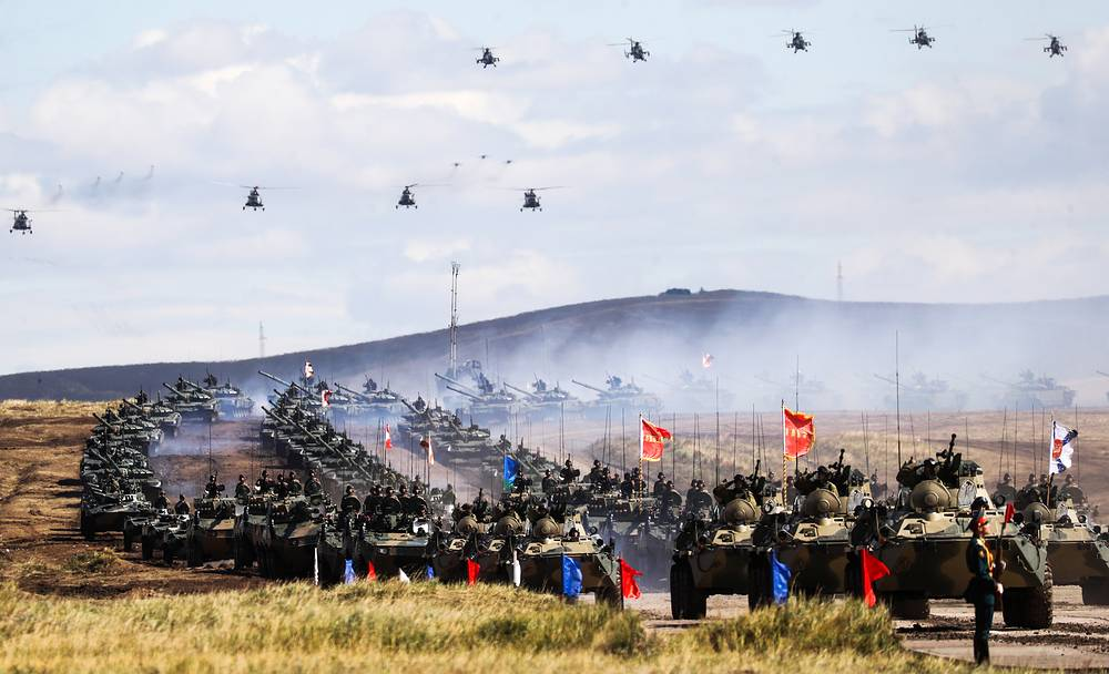 A parade of army hardware and aviation involved in the main stage of the Vostok 2018 military exercises held jointly by the Russian Armed Forces and the Chinese People's Liberation Army at the Tsugol range