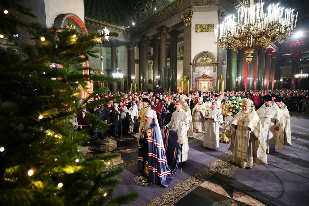 Metropolitan Varsonofy of St. Petersburg and Ladoga is seen during a Christmas liturgy at the Kazan Cathedral, January 6